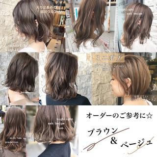 ミルクティー インナーカラー ブラウン ボブ ヘアスタイルや髪型の写真・画像