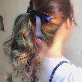 ハーフアップ 外国人風 セミロング 簡単ヘアアレンジ ヘアスタイルや髪型の写真・画像