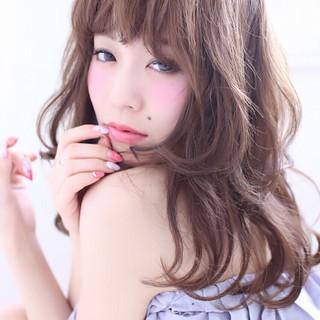ガーリー 大人かわいい アッシュ セミロング ヘアスタイルや髪型の写真・画像