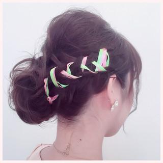 編み込み ヘアアレンジ ミディアム 三つ編み ヘアスタイルや髪型の写真・画像