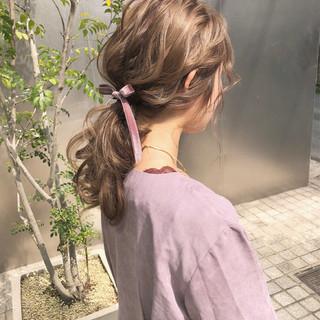 ポニーテール ロング 簡単ヘアアレンジ デート ヘアスタイルや髪型の写真・画像 ヘアスタイルや髪型の写真・画像