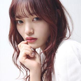 ラベンダーピンク セミロング ベリーピンク ピンクバイオレット ヘアスタイルや髪型の写真・画像
