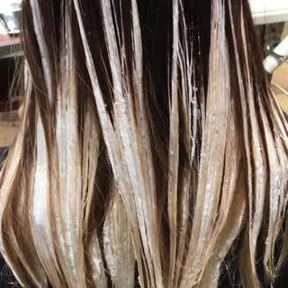外国人風カラー ハイライト ガーリー バレイヤージュ ヘアスタイルや髪型の写真・画像