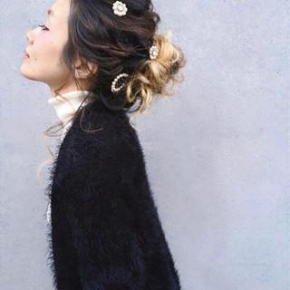 ヘアアレンジ ウェーブ 大人女子 女子力 ヘアスタイルや髪型の写真・画像