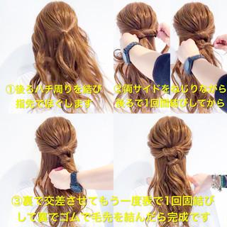 簡単ヘアアレンジ アウトドア ロング ヘアアレンジ ヘアスタイルや髪型の写真・画像
