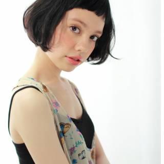 ストレート 黒髪 モード 抜け感 ヘアスタイルや髪型の写真・画像