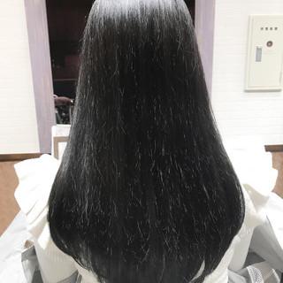 アッシュ ナチュラル ロング ダークアッシュ ヘアスタイルや髪型の写真・画像