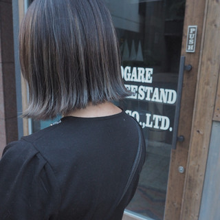 切りっぱなし 秋 ハイライト ボブ ヘアスタイルや髪型の写真・画像