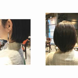 ショートヘア アッシュグレージュ 透明感カラー ショートバング ヘアスタイルや髪型の写真・画像