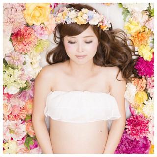 ロング ヘアメイク 大人かわいい 花嫁 ヘアスタイルや髪型の写真・画像