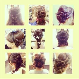 アップスタイル ヘアアレンジ 編み込み ガーリー ヘアスタイルや髪型の写真・画像 ヘアスタイルや髪型の写真・画像