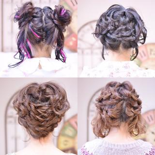 編み込み 簡単ヘアアレンジ ヘアアレンジ ガーリー ヘアスタイルや髪型の写真・画像