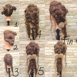 ヘアアクセ 編み込み アップスタイル 大人かわいい ヘアスタイルや髪型の写真・画像 ヘアスタイルや髪型の写真・画像