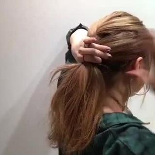 セミロング ベージュ ナチュラル 簡単ヘアアレンジ ヘアスタイルや髪型の写真・画像