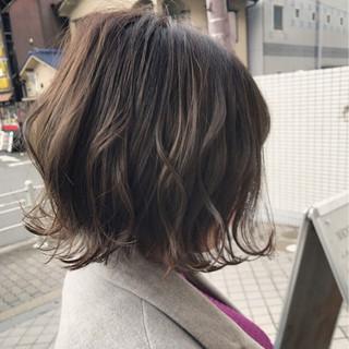 外ハネ グレージュ 外国人風カラー ボブ ヘアスタイルや髪型の写真・画像
