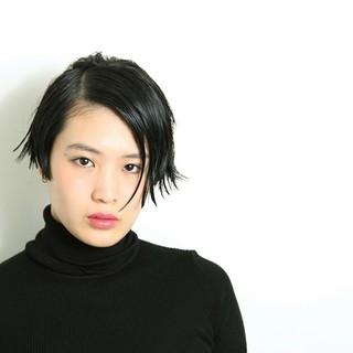 黒髪 ウェットヘア モード ショート ヘアスタイルや髪型の写真・画像 ヘアスタイルや髪型の写真・画像