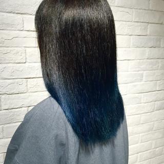 モード グラデーションカラー ストレート ブルー ヘアスタイルや髪型の写真・画像