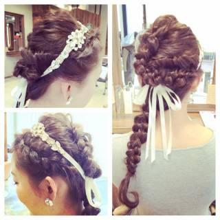 ロング ヘアアレンジ コンサバ 結婚式 ヘアスタイルや髪型の写真・画像