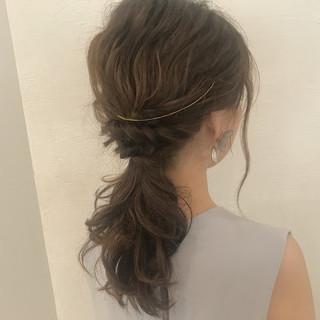 ウェーブ アンニュイ デート セミロング ヘアスタイルや髪型の写真・画像