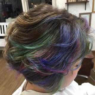 ミディアム ガーリー ダブルカラー カラフルカラー ヘアスタイルや髪型の写真・画像
