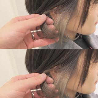 透明感 ミルクティーベージュ インナーカラー 大人かわいい ヘアスタイルや髪型の写真・画像