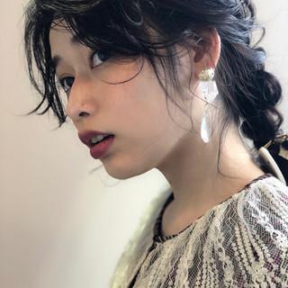 編み込み ショート ヘアクリップ ミディアム ヘアスタイルや髪型の写真・画像