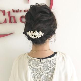 ヘアアレンジ 結婚式 編み込み 上品 ヘアスタイルや髪型の写真・画像