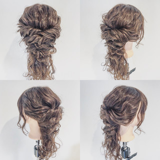 エレガント ゆるふわ ヘアアレンジ 波ウェーブ ヘアスタイルや髪型の写真・画像