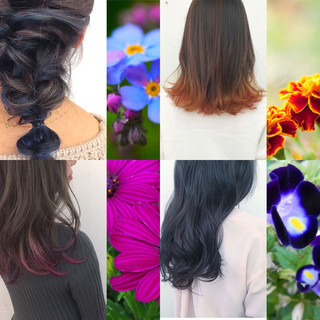 インナーカラー グラデーションカラー セミロング ガーリー ヘアスタイルや髪型の写真・画像