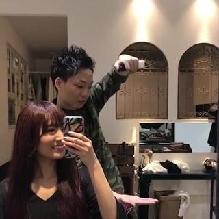 ガーリー レッド ヘアアレンジ ピンク ヘアスタイルや髪型の写真・画像