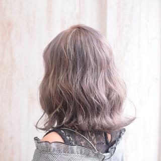 ラベンダーグレージュ ラベンダーアッシュ ボブ ブルーラベンダー ヘアスタイルや髪型の写真・画像