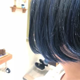 ブルージュ ネイビー ボブ ブルー ヘアスタイルや髪型の写真・画像