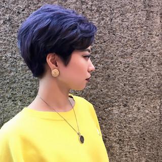 ブルー スポーツ パープル ダブルカラー ヘアスタイルや髪型の写真・画像