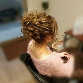 フェミニン 結婚式 ヘアアレンジ ミディアム ヘアスタイルや髪型の写真・画像