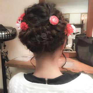 成人式 ガーリー セミロング ヘアアレンジ ヘアスタイルや髪型の写真・画像