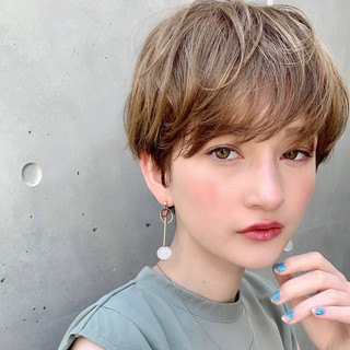 デート ナチュラル ショート ヘアアレンジ ヘアスタイルや髪型の写真・画像