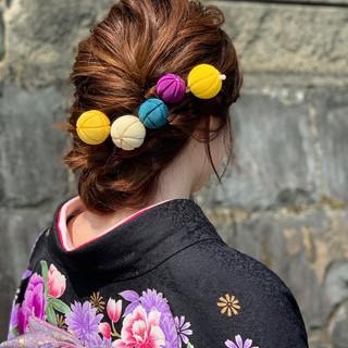 モード 成人式 セミロング 簡単ヘアアレンジ ヘアスタイルや髪型の写真・画像