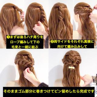 簡単ヘアアレンジ ヘアアレンジ ハーフアップ デート ヘアスタイルや髪型の写真・画像