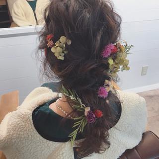 結婚式 ゆるふわ ナチュラル ヘアアレンジ ヘアスタイルや髪型の写真・画像