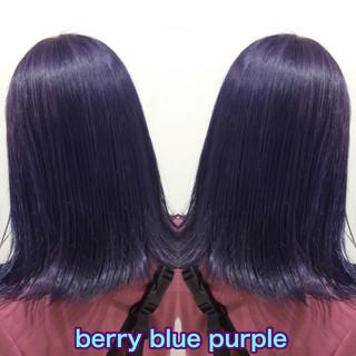 セミロング パープルカラー ブルーバイオレット ブルーラベンダー ヘアスタイルや髪型の写真・画像