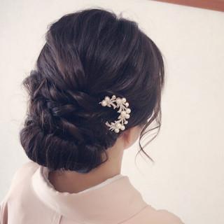 結婚式 まとめ髪 セミロング 女子会 ヘアスタイルや髪型の写真・画像