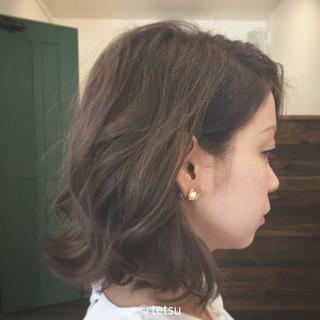 アッシュ グレージュ 外国人風カラー ミディアム ヘアスタイルや髪型の写真・画像