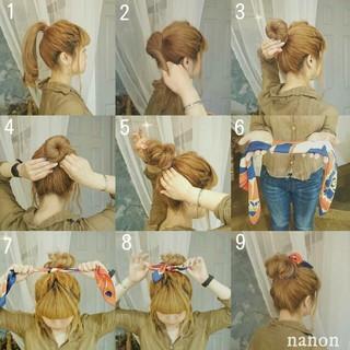 ヘアアレンジ ロング お団子 ヘアアクセ ヘアスタイルや髪型の写真・画像