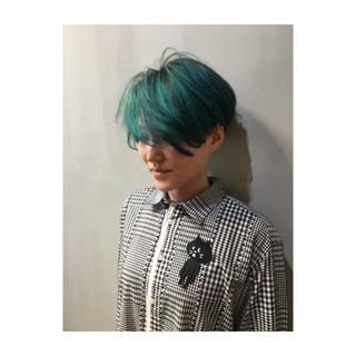 ボブ ネイビーアッシュ ブルー ストリート ヘアスタイルや髪型の写真・画像
