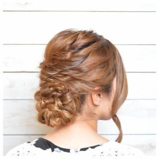 編み込み 大人かわいい パーティ ねじり ヘアスタイルや髪型の写真・画像 ヘアスタイルや髪型の写真・画像