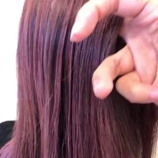 バレイヤージュ ラズベリーピンク モード エアータッチ ヘアスタイルや髪型の写真・画像 ヘアスタイルや髪型の写真・画像