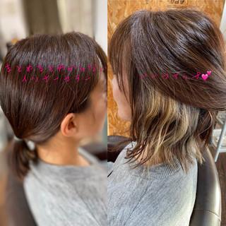 フェミニン ベリーショート インナーカラー 切りっぱなしボブ ヘアスタイルや髪型の写真・画像