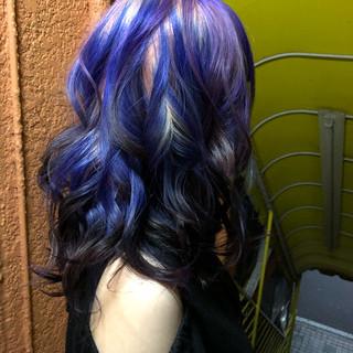 ブリーチカラー マニパニ セミロング 特殊カラー ヘアスタイルや髪型の写真・画像