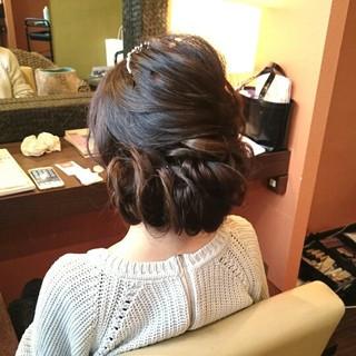 編み込み ヘアアレンジ 結婚式 二次会 ヘアスタイルや髪型の写真・画像