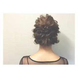 暗髪 編み込み ロング ゆるふわ ヘアスタイルや髪型の写真・画像
